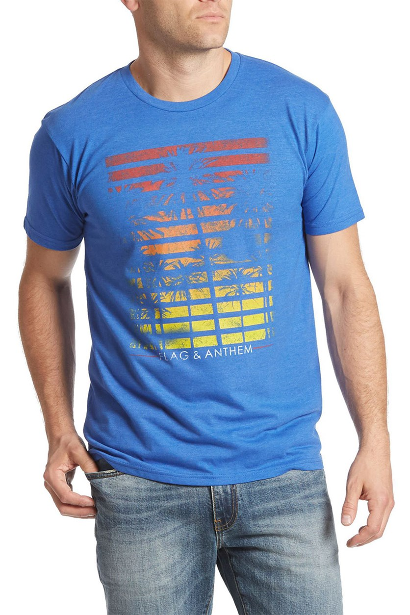 Palm Stripes Tee, Royal Blue Heather