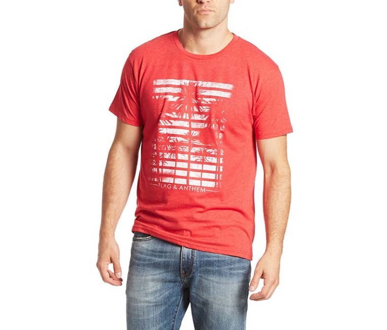 Men's Palm Tree Graphic Tee, Red Heather