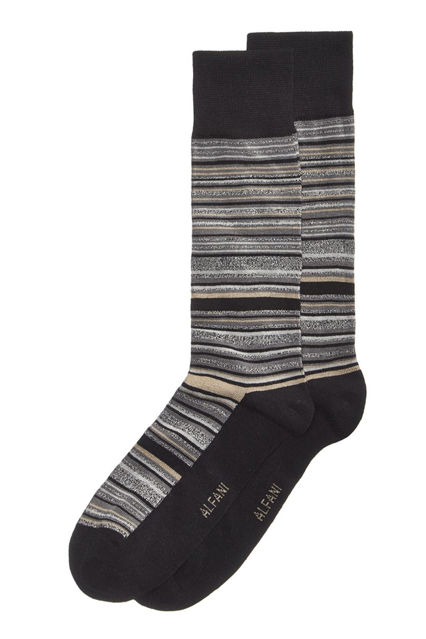 Mens Variegated Stripe Socks, Black