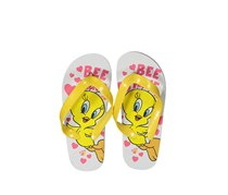 Little Girls Looney TunesTweety Bird Slip-on Flipflops, White/Yellow