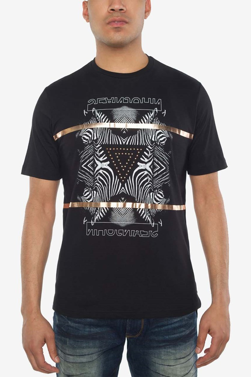 Men's Zebra Pyramid Graphic-Print T-Shirt, Black