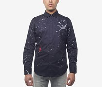 Sean John Men's Embroidered Paint-Splatter Shirt, Navy
