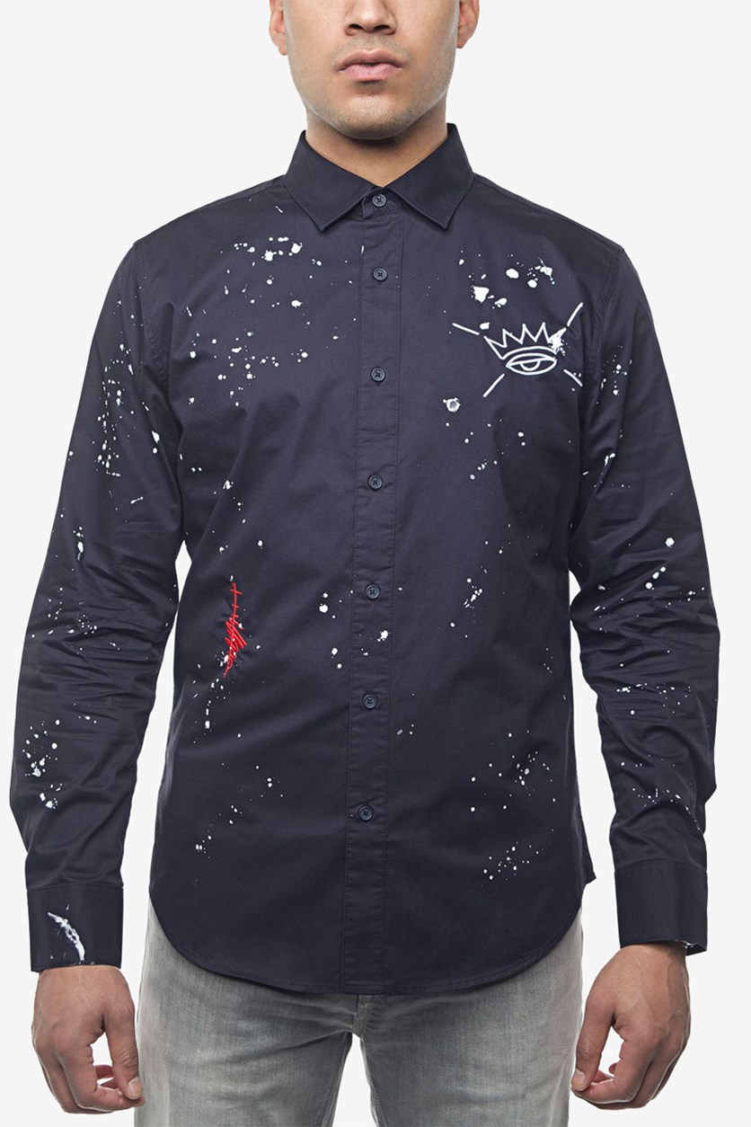 Men's Embroidered Paint-Splatter Shirt, Navy