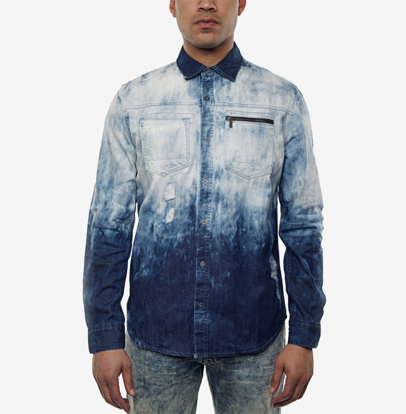 Men's Dip-Dyed Destroyed Denim Shirt, Cummulus Wash