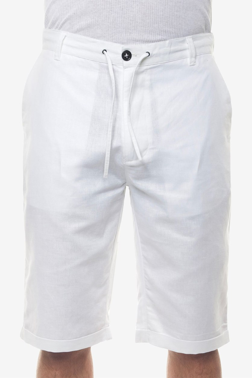 Men's Linen Blend Drawstring Shorts, White