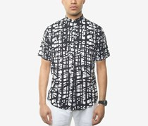 Sean John Men's Printed Shirt, Bright White/Black