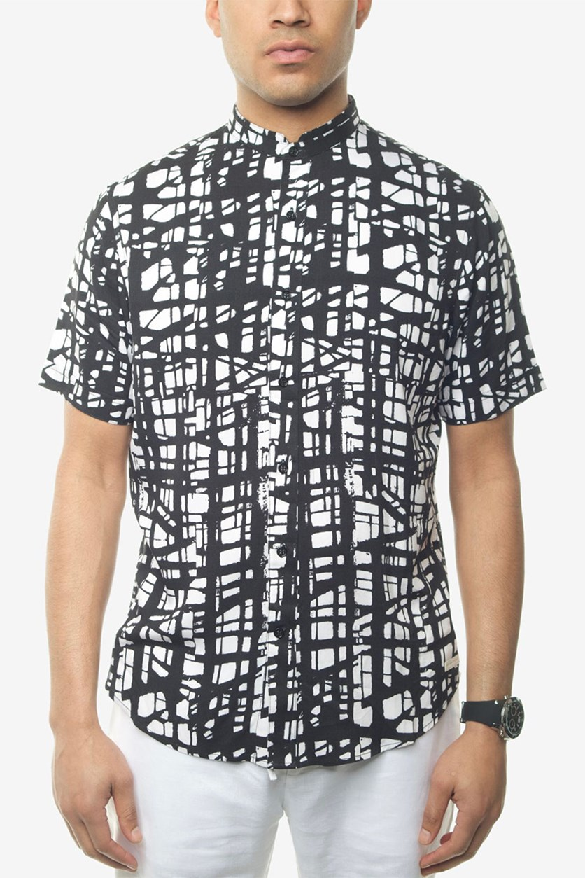 Men's Printed Shirt, Bright White/Black