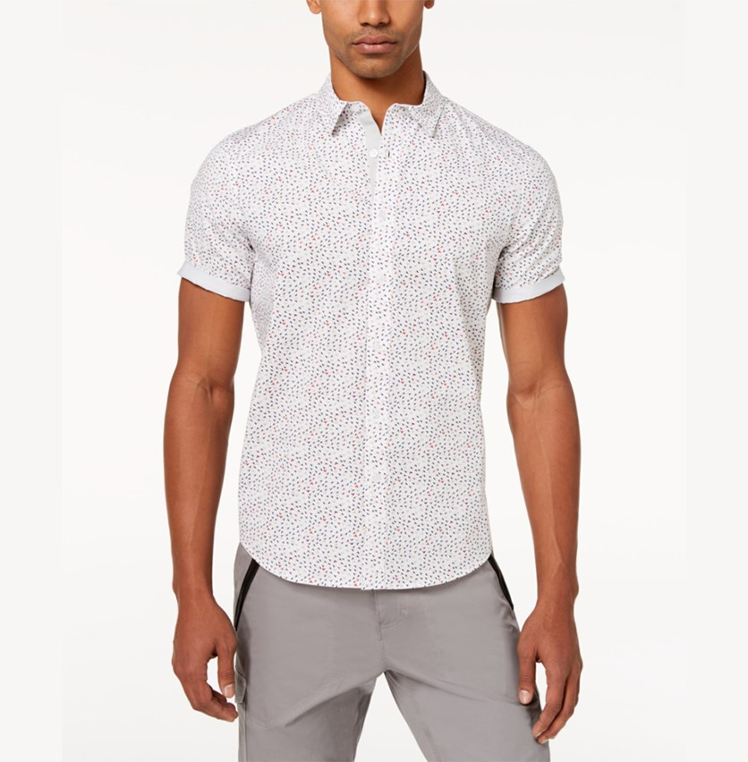 Men's Flight Geo-Print Shirt, White