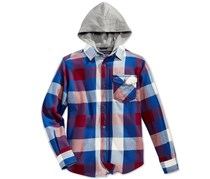 Tommy Hilfiger Boy's Plaid Hooded Shirt, Navy/Wine/Grey/White