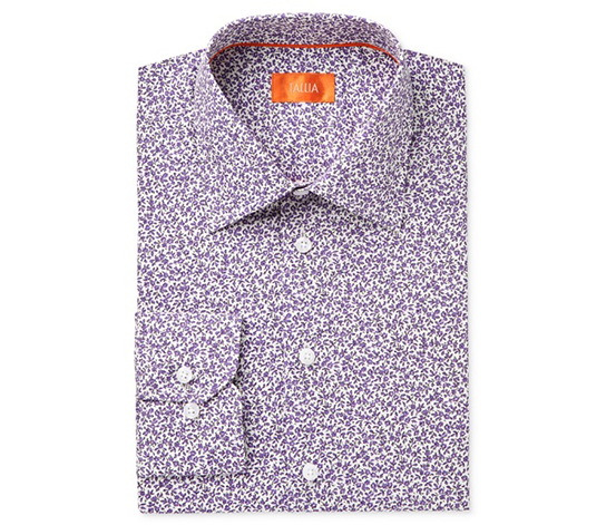Tallia Men's Fitted Small Floral Print Shirt, Purple