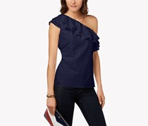 Tommy Hilfiger Cotton One-Shoulder Top, Navy
