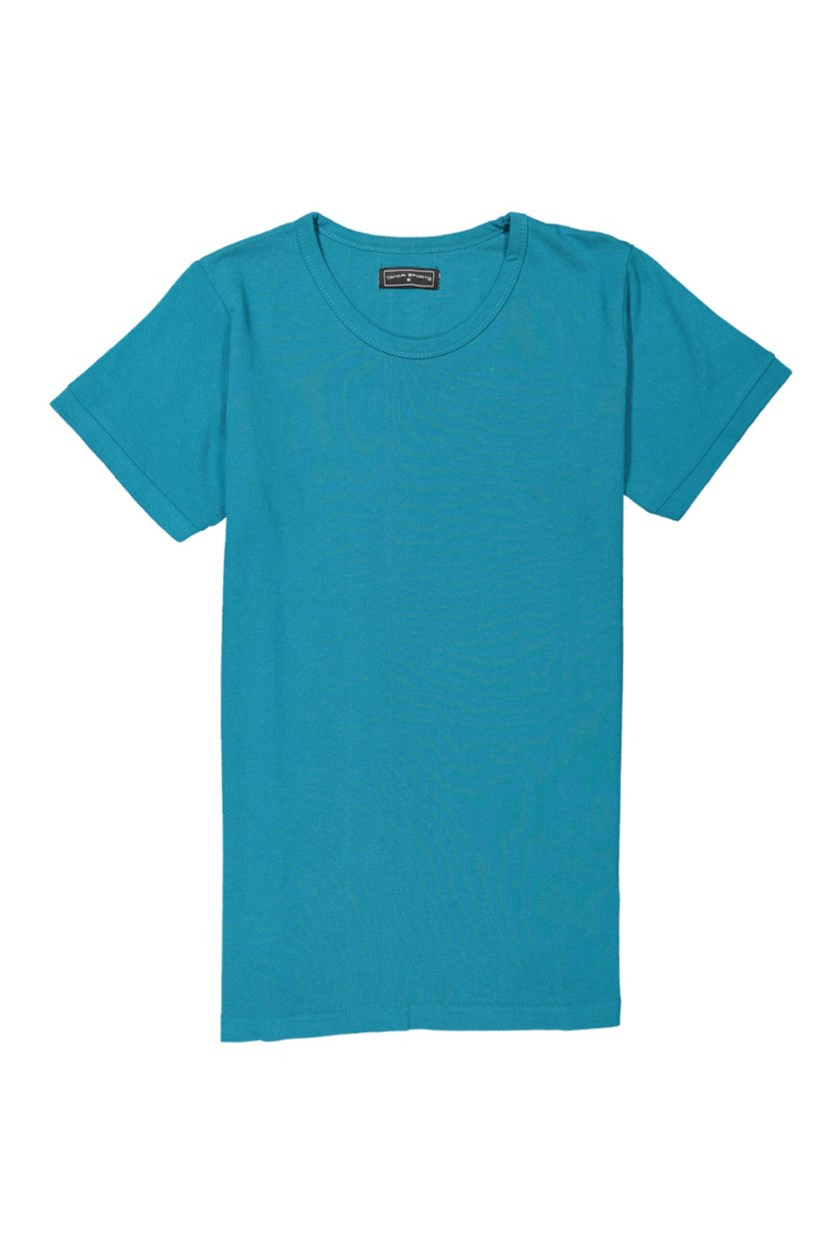 Tahari Sport Men's Plain Cotton Round Neck T-Shirt, Dark Teal