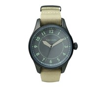 Tahari Mens Nato Strap Analog Watch, Beige/Charcoal