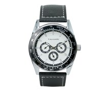 Tahari Mens Genuine Leather Analog Watch, Black/White