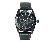 Tahari Mens Genuin Leather Analog Watch, Black