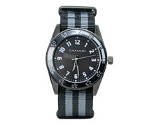 Tahari Mens Stripe Nato Strap Analog Watch, Black/Grey