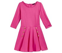 Tommy Hilfiger Girl's Button Skater Dress, Fandango Pink