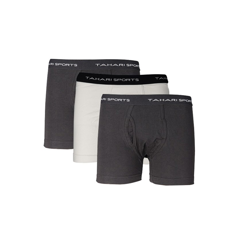 Men's 3 Boxer Briefs, Black/White