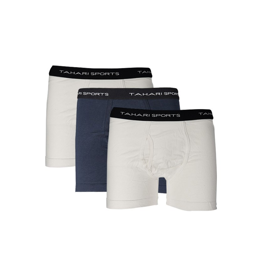 Men's Cotton 3 Trunk, White/Navy/White