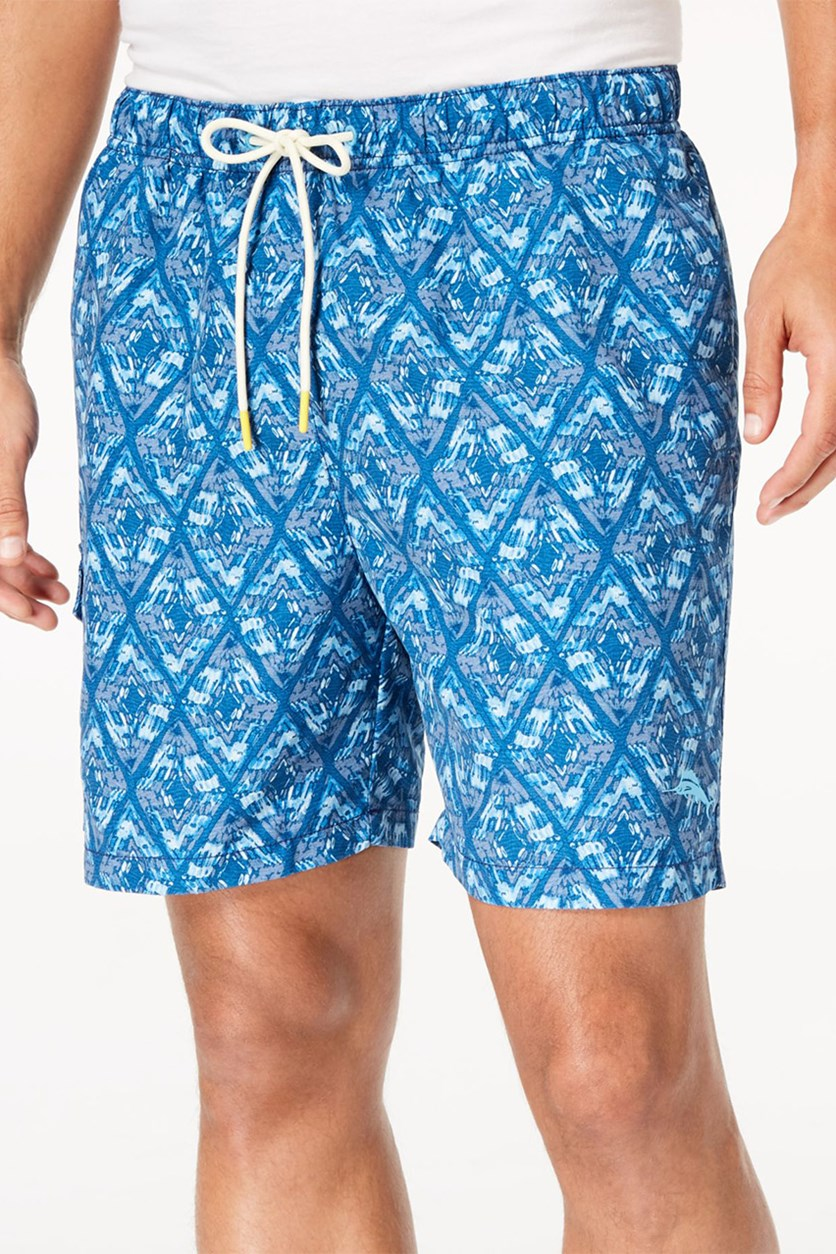 Men's Naples Deepwater Diamond-Print Twill Swim Trunks, Kingdom Blue