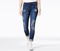 Vanilla Star Women's Rip and Repair Super Soft Jean, Navy