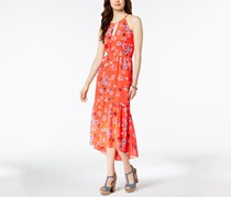 Vince Camuto Floral-Print Chiffon High-Low Dress, Orange Combo