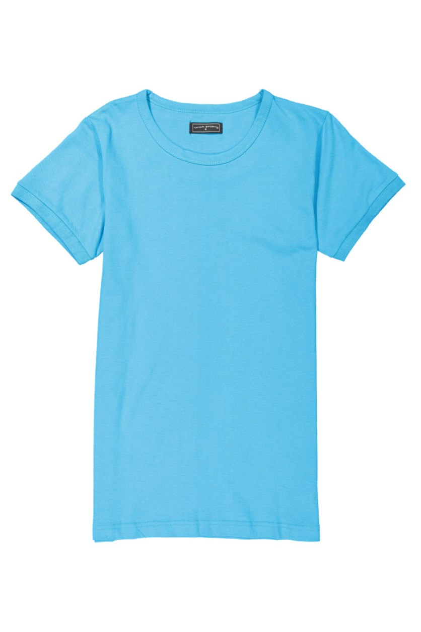 Tahari Sport Men's Plain Cotton Round Neck T-Shirt, Blue