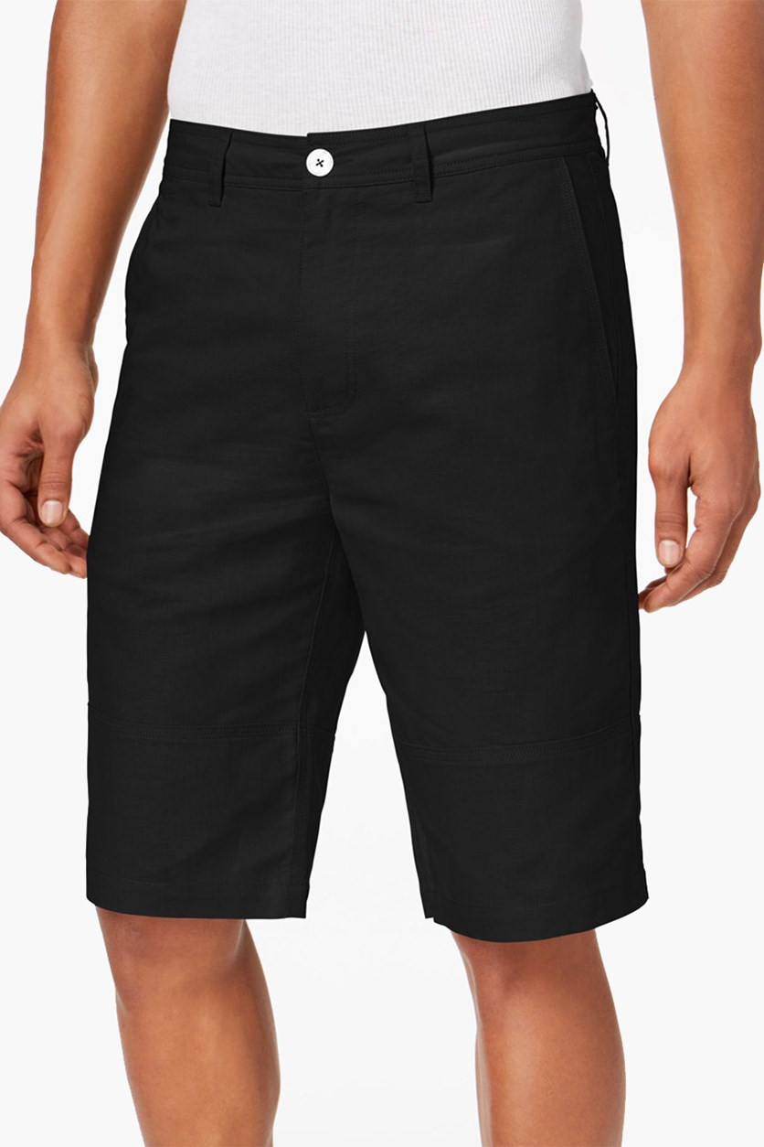 Men's Linen Shorts. Black