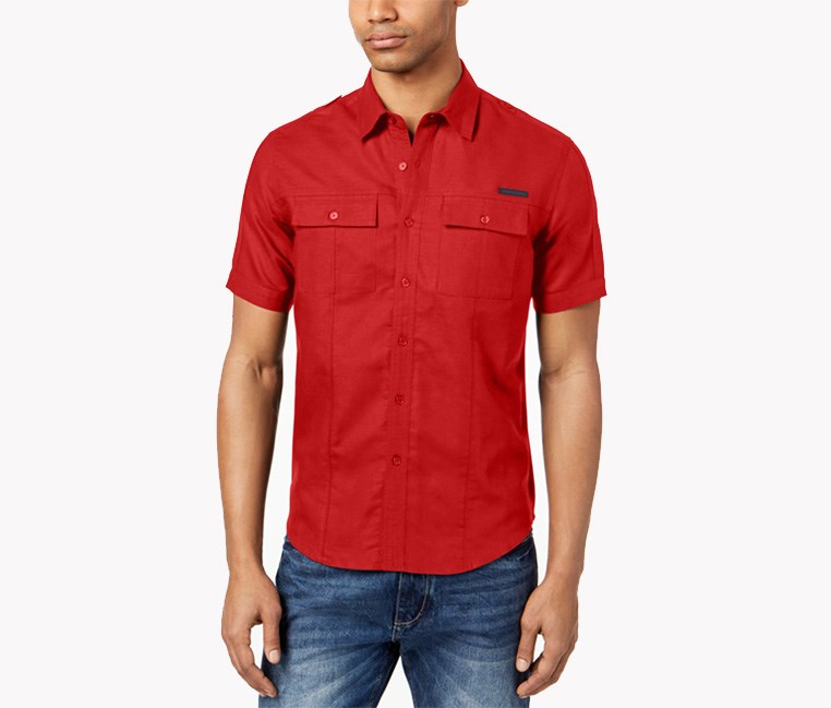 Men's Dual Pocket Linen Shirt, Fiery Red