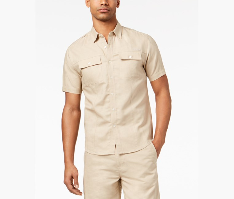 Men's Short Sleeve Dual Pocket Linen Shirt, Tan