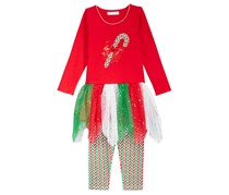 Bonnie Jean Girl's 2-Piece Candy Cane Tutu Tunic & Leggings Set, Red
