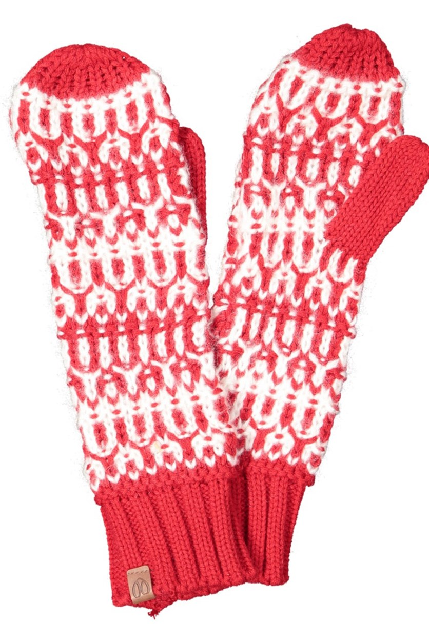 Women's Textured Gloves, Red/White