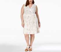 Tommy Hilfiger Plus Size Printed Sleeveless Wrap Dress, White/Beige