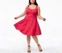 Soprano Trendy Plus Size Split Neck Sleeveless Dress, Fucia