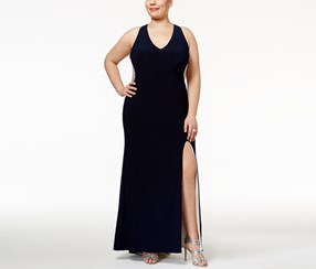 Xscape Women's Plus Size Illusion Beaded-Back Gown, Navy/Nude/Silver