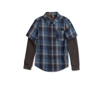 Volcom Toddler's Boy's Hayes Plaid Cotton Shirt, Blue Smoke