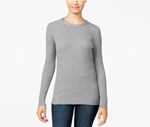 Hooked Up Women's Rib-Knit Zip-Back Sweater, Grey