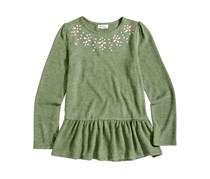 Monteau Girl's Babydoll Top, Olive