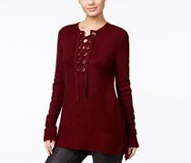 Kensie Women's Lace-Up High-Low Sweater, Maroon