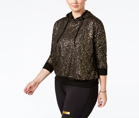 Material Girl's Active Plus Size Metallic Hoodie, Black/Gold
