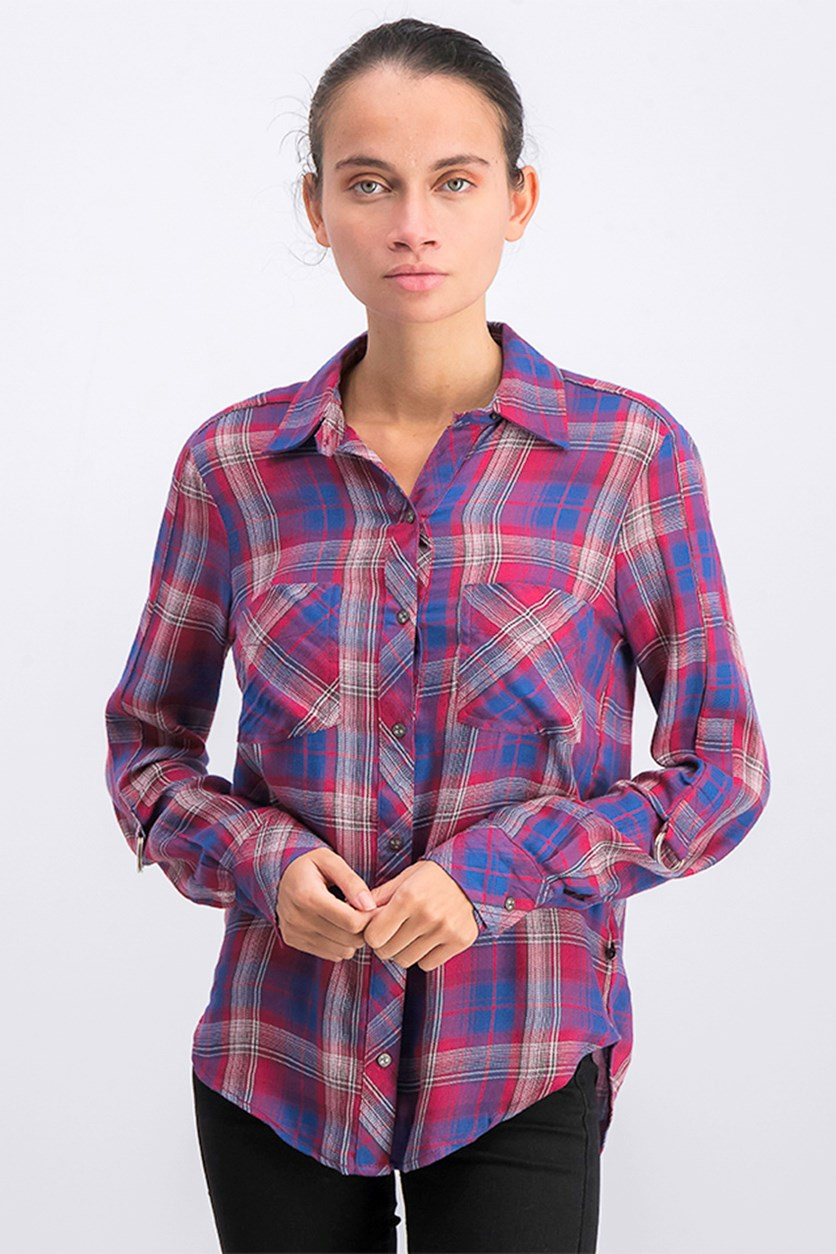 Women's Belted Cuff Plaid Carina Top, Red Combo