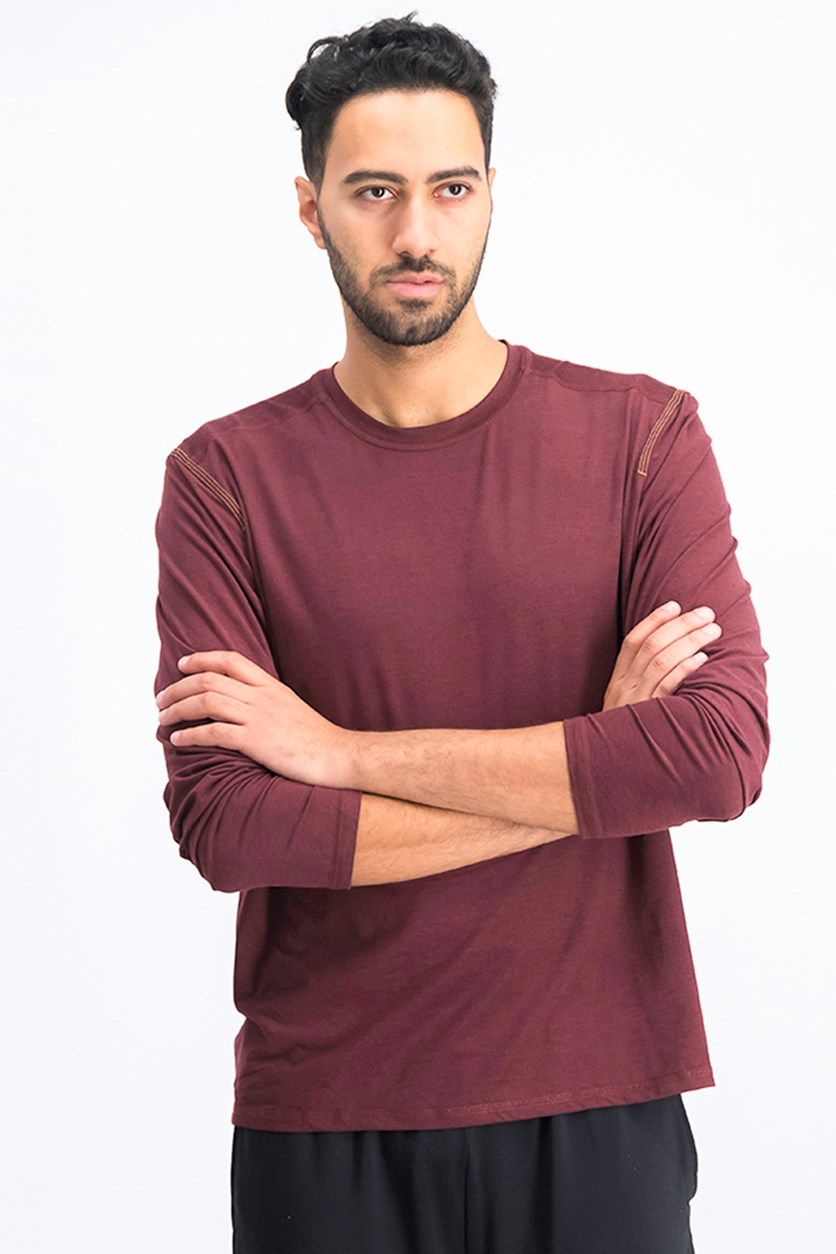 Men's Space-Dyed Shirt, Chocolate Truffle Heather/Maroon