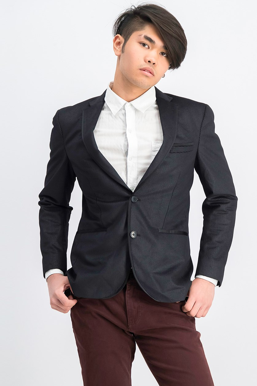Mens Slim-Fit Check Blazer, Charcoal/Black