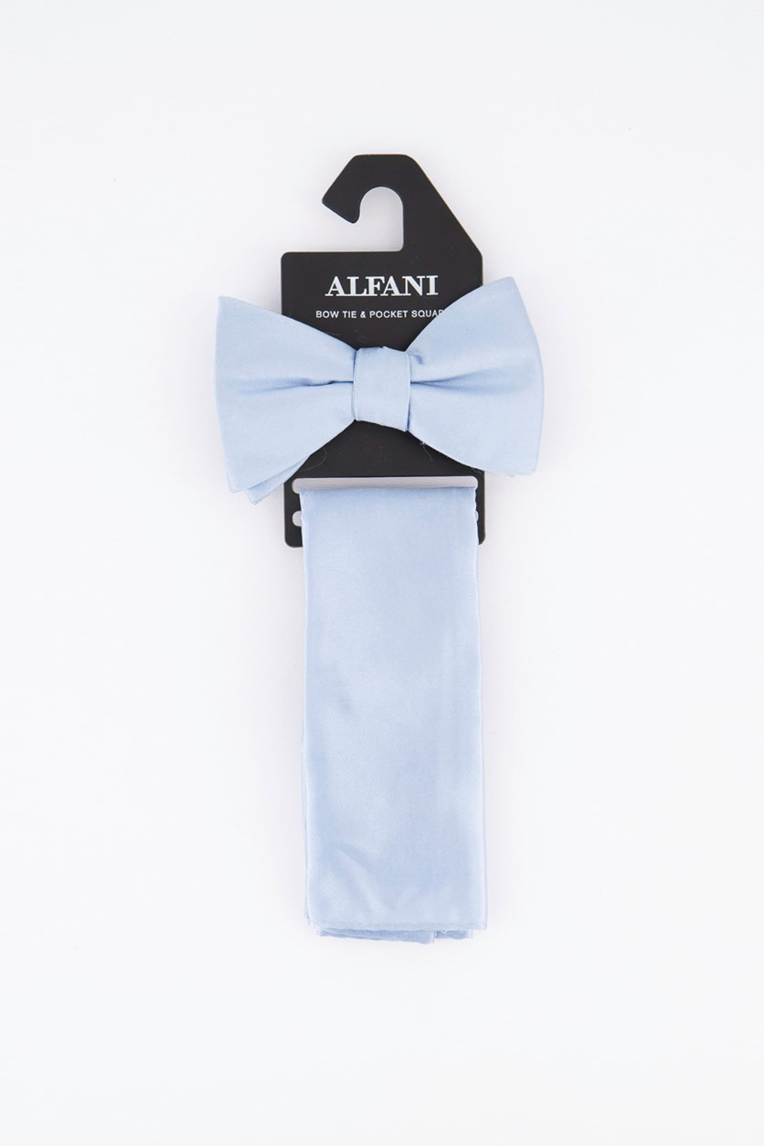 Men's Satin Solid Bow Tie & Pocket Square Set, Light Blue