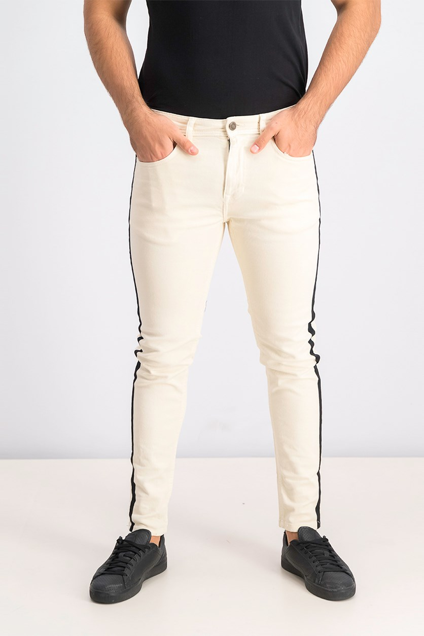 Men's Skinny Fit Jeans, Beige/Black