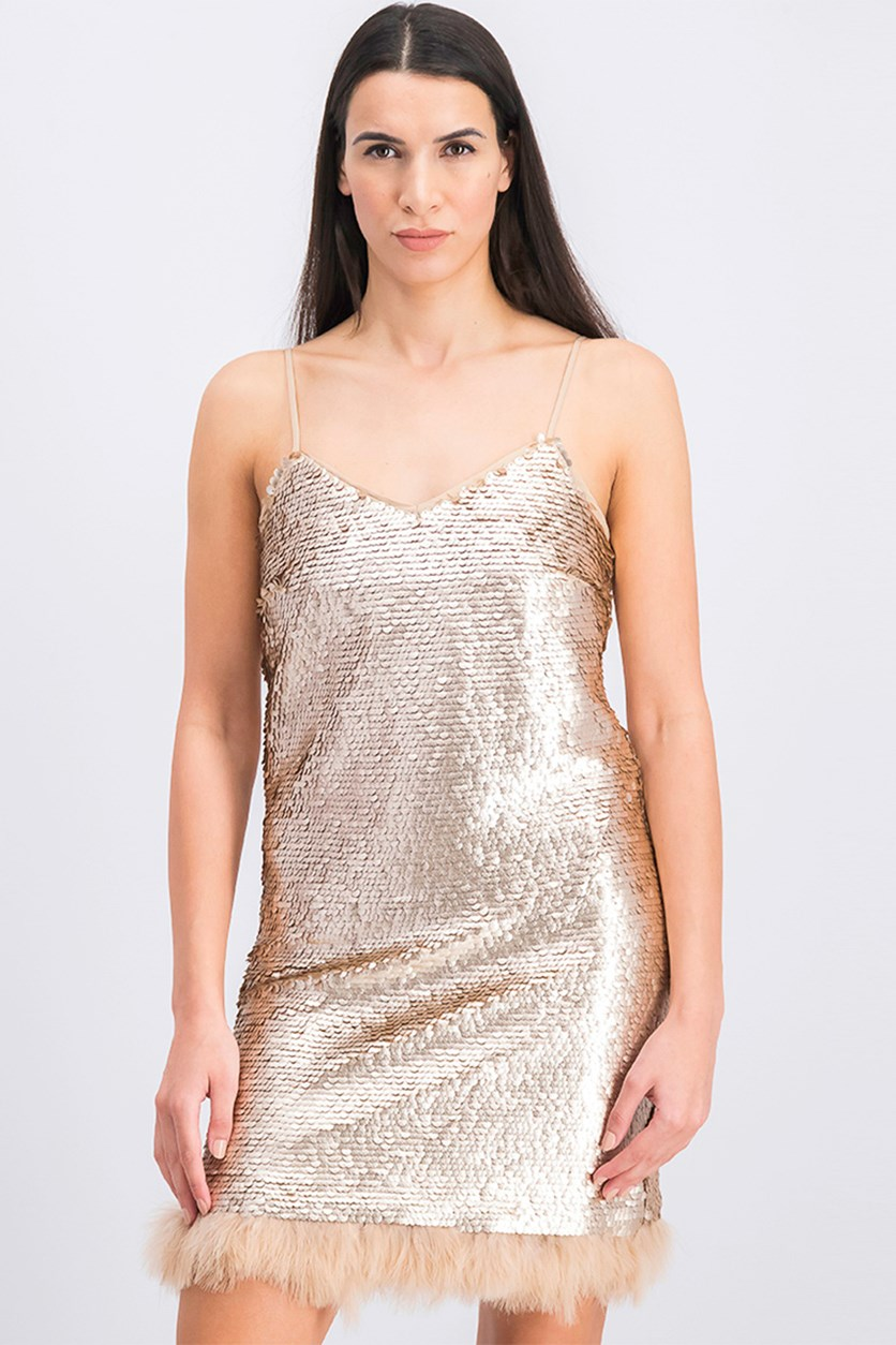 Women's Shift Sequined Slip Dress, Rose Gold