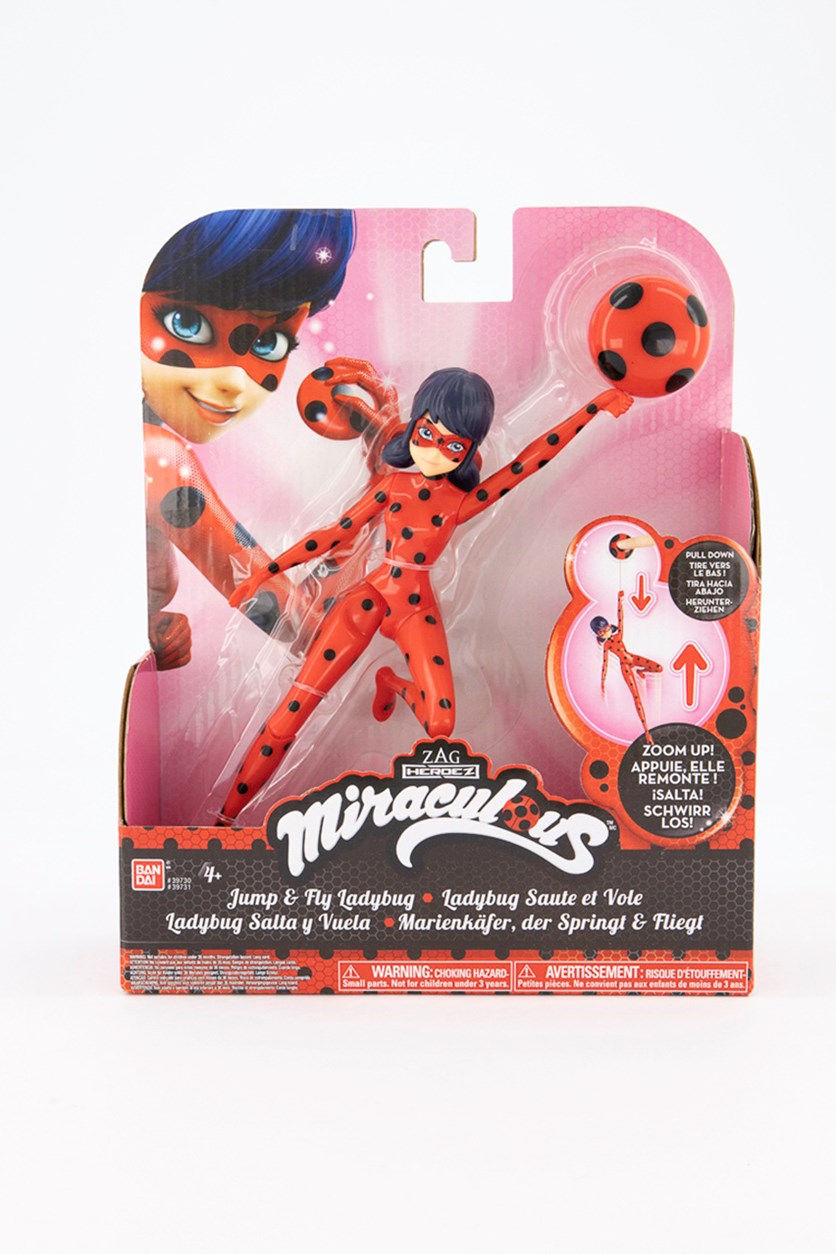 Miraculous 7.5-Inch Jump and Fly Ladybug Action Doll, Red