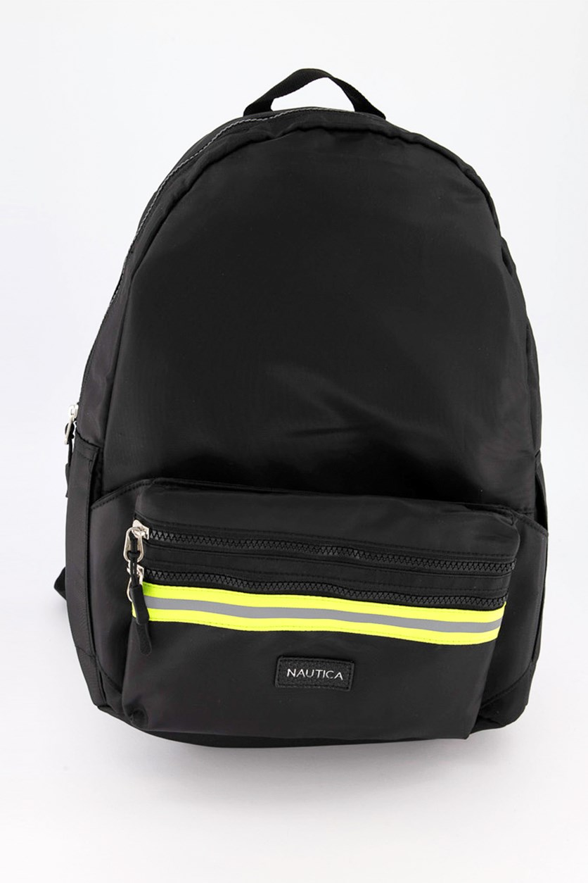 Men's Dynamic Reflective Tape Backpack With Belt Bag, Black