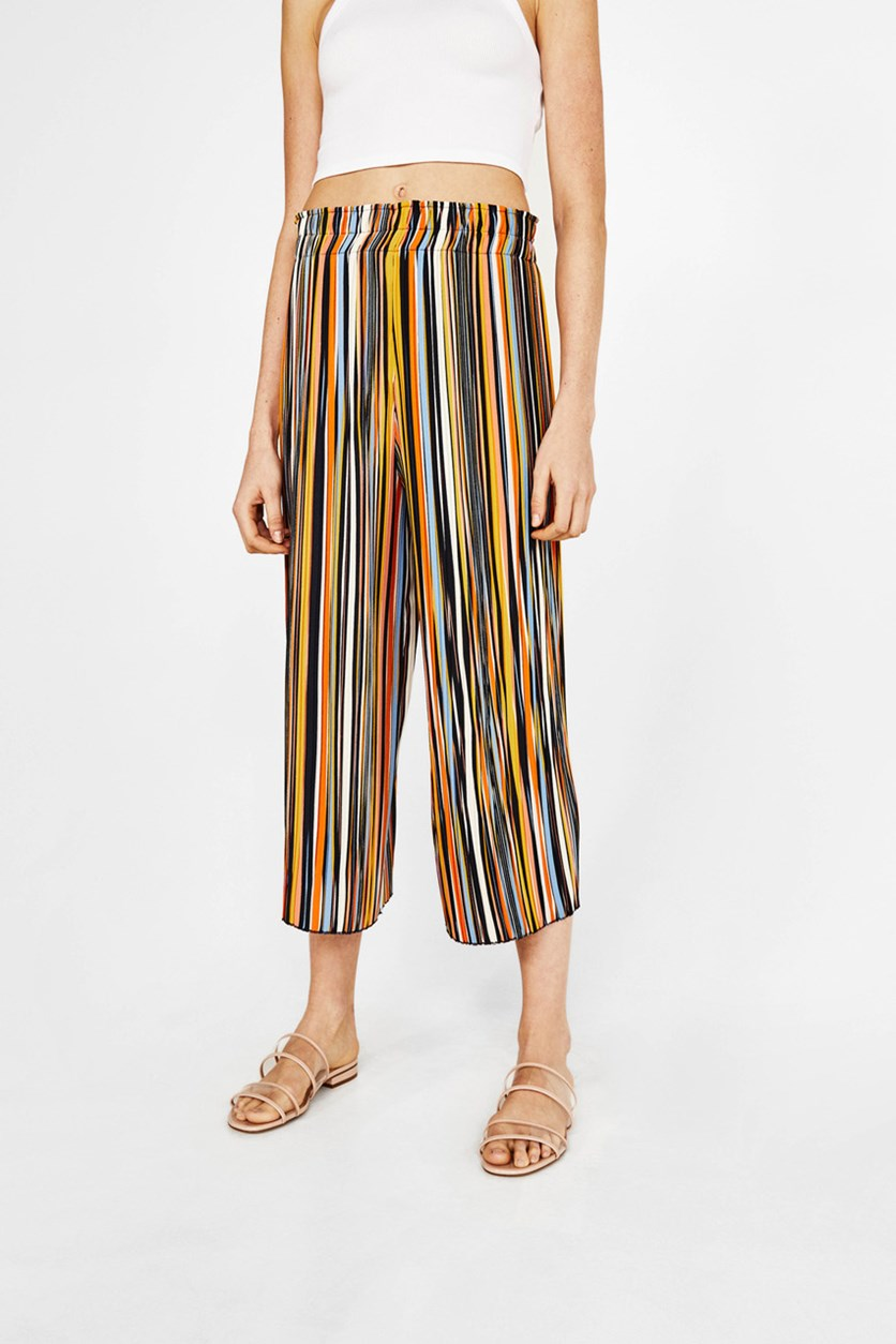 Women's Stripe Pleated Culottes, Black Combo