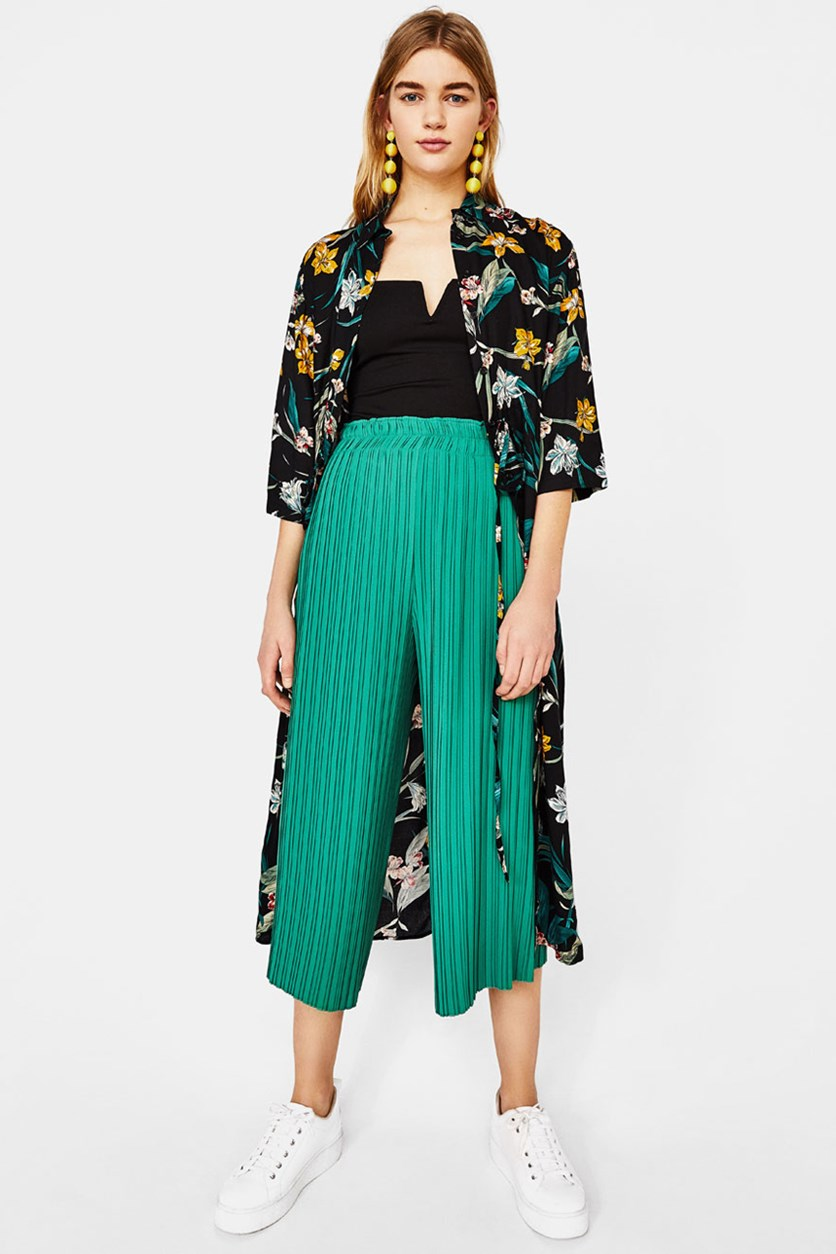 High Rise Pleated Trousers, Green